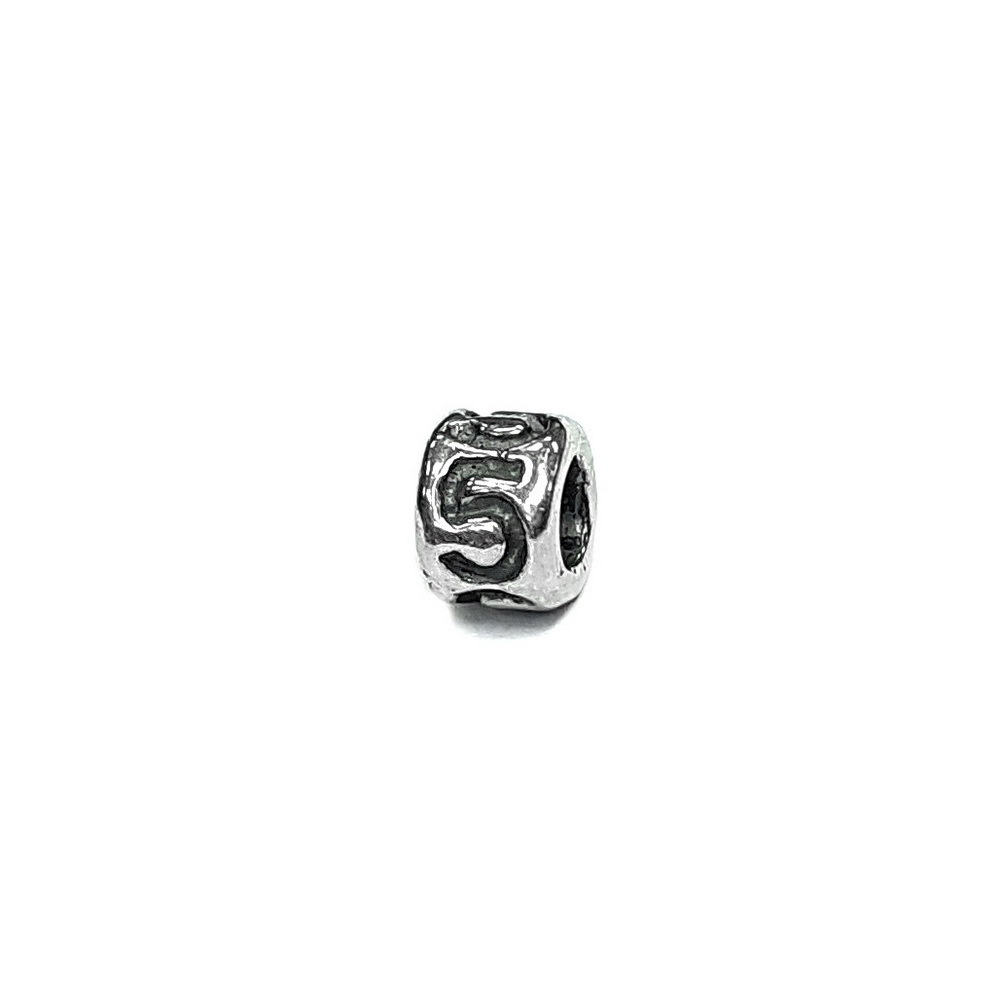 Number 5 charm, five, Sterling Silver