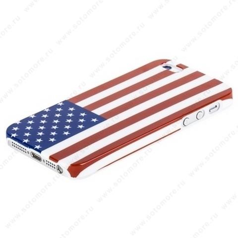 Накладка пластиковая для iPhone SE/ 5s/ 5C/ 5 флаг США