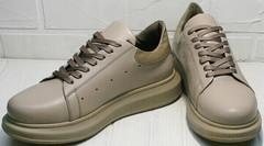 Кожаные спортивные туфли кроссовки женские стильные Markos 1523 All Beige.