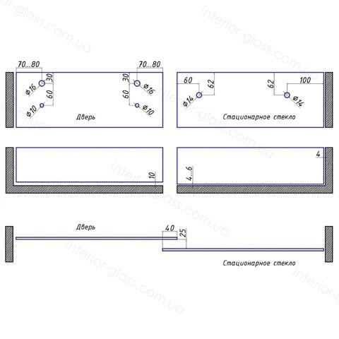 Комплект раздвижной душевой системы ST-301 BLK чёрный матовый