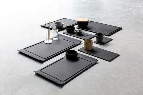 Прямоугольное фарфоровое блюдо-поднос  черное, артикул 640692, серия Basalt