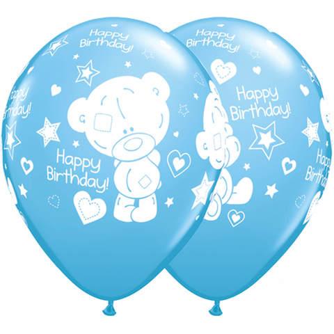 Шары с днём рождения Тедди голубые