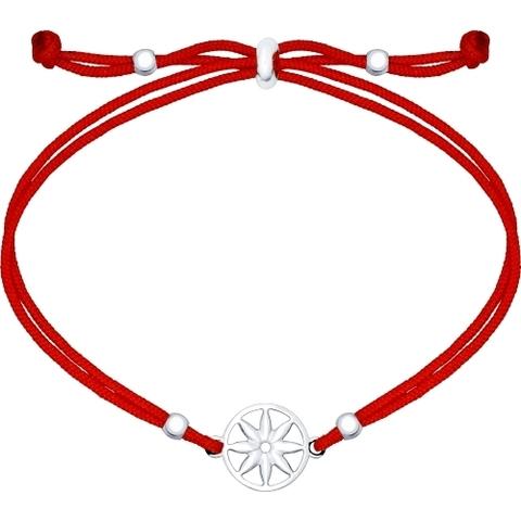 Браслет-красная нить с подвеской из серебра