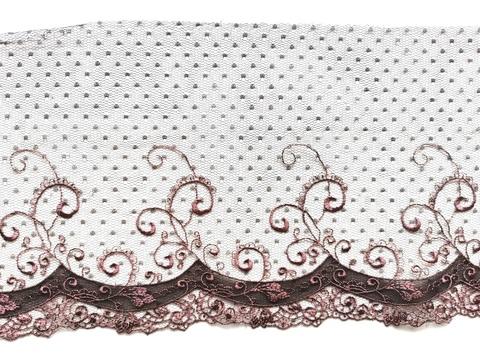 Вышивка на сетке, ЛЕВАЯ, 18 см, шоколад/кофейно-розовый, м