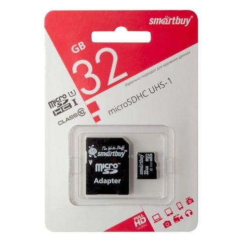 Карта памяти Smart Buy microSD 32GB Class 10 с адаптером