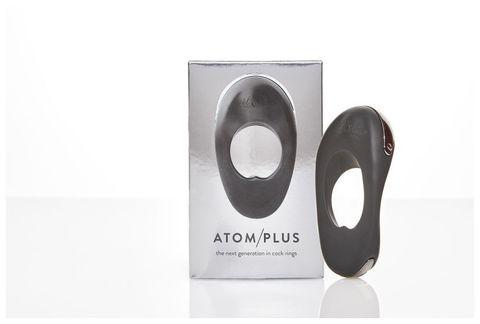 Черное эрекционное виброкольцо с двумя виброэлементами ATOM PLUS
