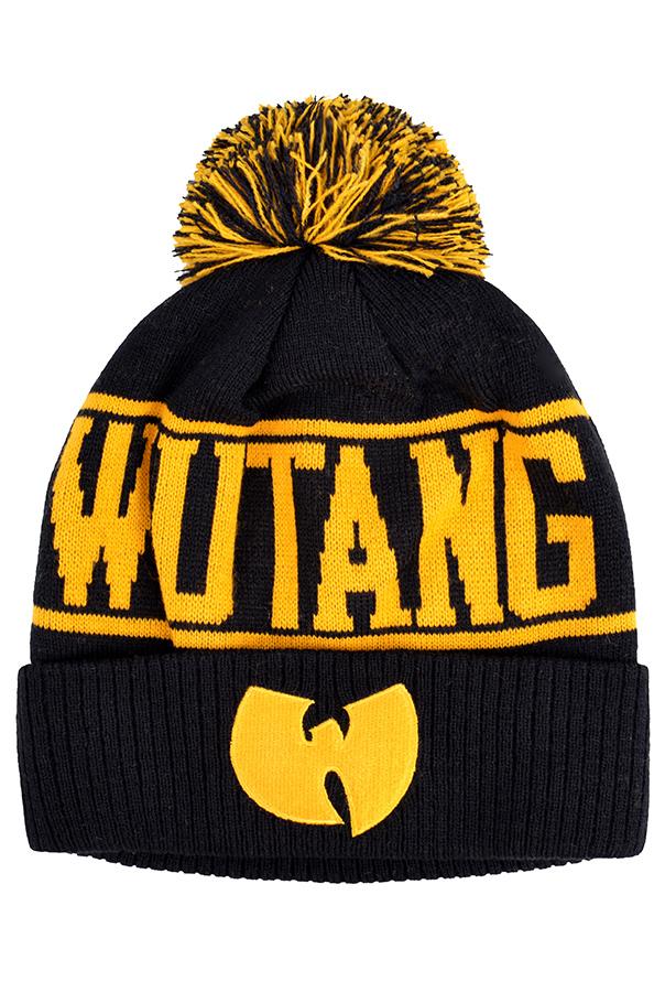 Шапка Wu-Tang черная с желтым фото