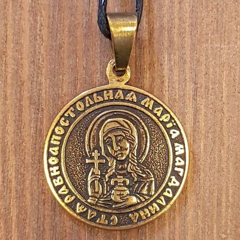 святая Мария именная нательная икона из бронзы кулон с молитвой