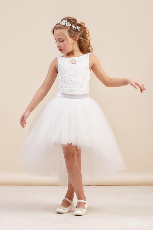Комплект (блузка, юбка) белый для девочки 64-8009-1