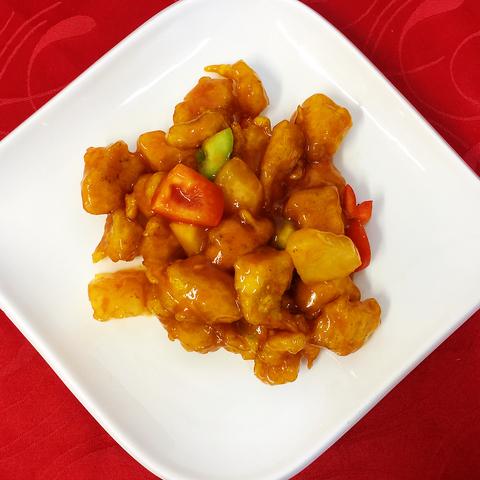 113 - Курица в кисло-сладком соусе с ананасом菠萝鸡肉