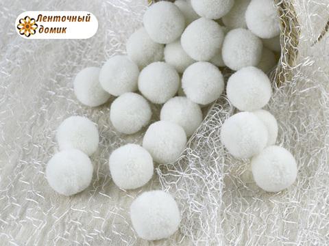 Помпоны кашемировые белые 20 мм