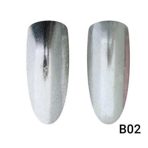 Зеркальная втирка для ногтей серебро В02
