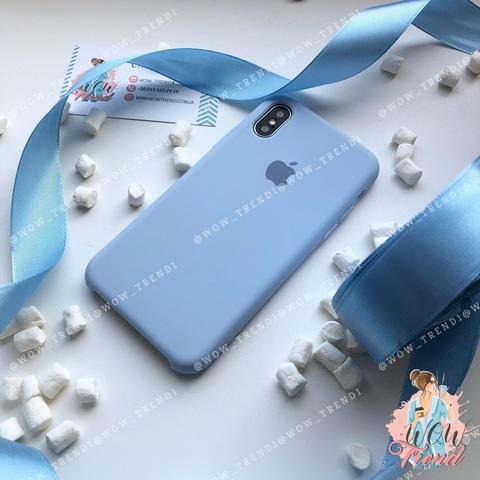 Чехол iPhone X/XS Silicone Case /lilac cream/ голубой 1:1