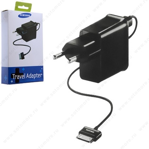 Сетевая зарядка Samsung Galaxy Tab 1xUSB 2.0А + кабелем USB c широкий разъем 1.0 метр в упаковке черный