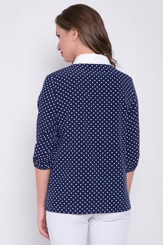 <p>Нарядная блузка свободного кроя в горох. Втачной ворот в виде галстука белого цвета отлично освежает данную модель. Блузка прекрасно сочетается и с юбкой, и с брюками. Рукав 3/4 на резинке.&nbsp;(Длины: 46-48=64см; 50-52=65см)&nbsp;</p>