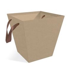 Коробка для цветов Трапеция крафт, 140x140x16см.