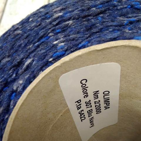 Твид с хлопком и шелком OLIMPIA 100 темно-синий