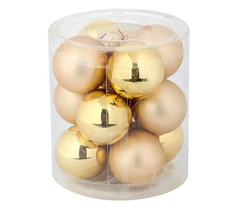 Набор шаров 12шт. в тубе (стекло), D4см, цветовая гамма: золотая