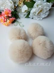 Помпон из натурального меха, Кролик, 5-6 см, цвет Кремовый, 2 штуки