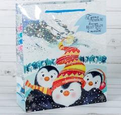 Пакет подарочный голография вертикальный «Новогоднее волшебство», 18 x 23 × 8 см, 2260157