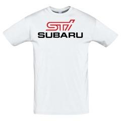 Футболка с принтом Субару (Subaru) белая 2