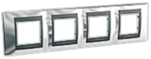 Рамка на 4 поста. Цвет Хром глянцевый-графит. Schneider electric Unica Top. MGU66.008.210