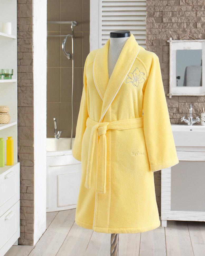 Махровые халаты LILIUM SALYAKA ЖЕЛТЫЙ махровый женский халат Soft Cotton (Турция) LILIUM_желт.jpg