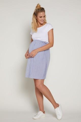 Платье для беременных и кормящих 09379 белый/голубой/полоска