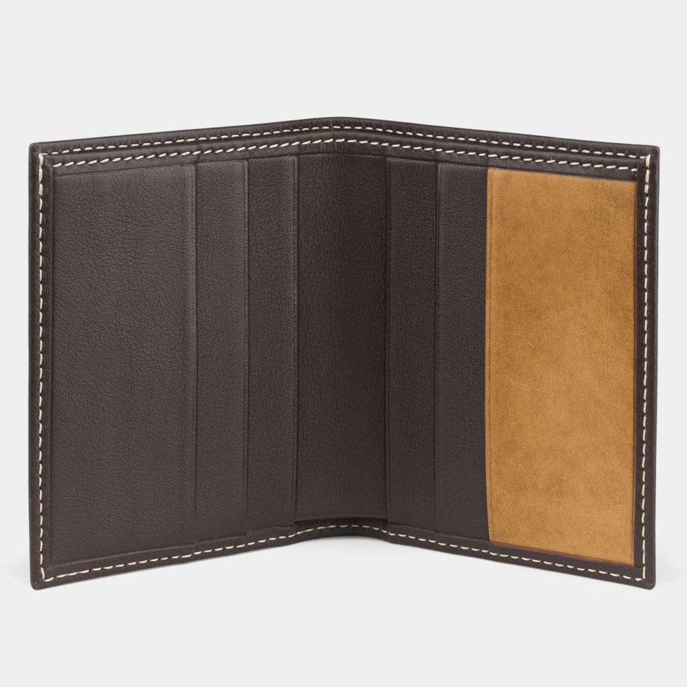 Кошелек-портмоне Pochette-Line Bicolor из натуральной кожи теленка, темно-коричневого цвета