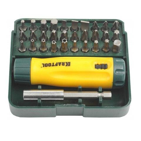 KRAFTOOL Mini-Box-32 набор: реверсивная отвертка с насадками 32 шт