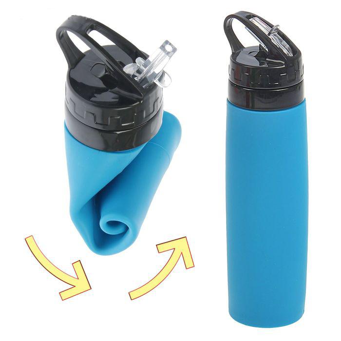 Бутылка силиконовая скручивающаяся 600 мл.