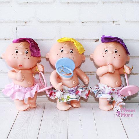 Пупс Berjuan Gorditos Mini с фиолетовым бантиком 12 см