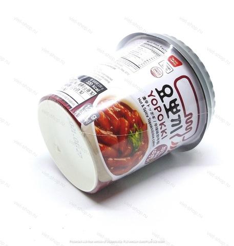 Корейские рисовые клецки Topokki (топокки) с острым пряным соусом, 120 гр.