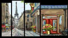 "Модульная картина ""Арт улочки Парижа"""