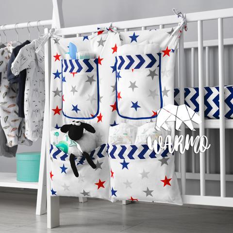 органайзер на ліжечко з синіми і червоними зірками фото