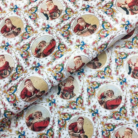 Бумага подарочная упаковочная Санта и флорентийский узор (Италия)