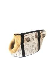 Сумка-переноска для собак с меховой отделкой Газета