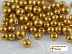 Бусины Жемчуг темное золото (стекло)