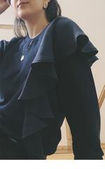 Свитшот с воланом темно-синий