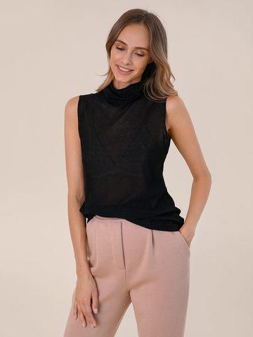 Женский свитер без рукавов черного цвета из вискозы - фото 2