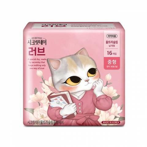 Ультратонкие Гигиенические Прокладки SECRET DAY Love Pink Medium 245mm-16p