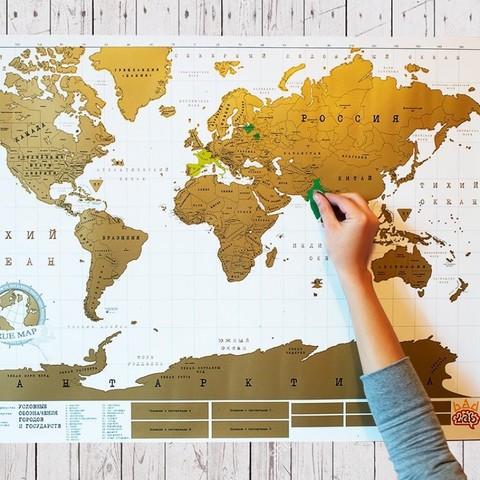 Truemap Original - большая стиральная скретч карта путешествий.