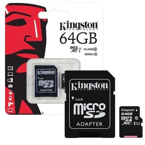 Карта памяти 64Gb MicroSD Kingston Canvas Select Class 10 + адаптер (SDCS/64GB)