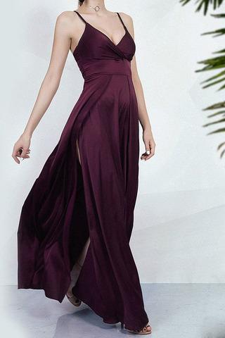 Вечернее шелковое платье на бретелях, черного цвета 2