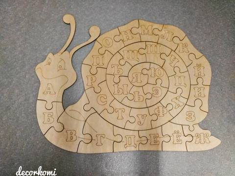 Улитка-пазл из дерева, с азбукой