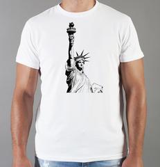 Футболка с принтом США, Статуя Свободы (USA/ Statue of Liberty ) белая 0016