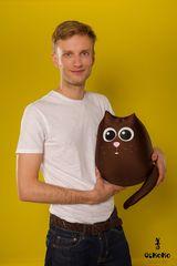 Подушка-игрушка антистресс «Кот шоколадный большой» 2