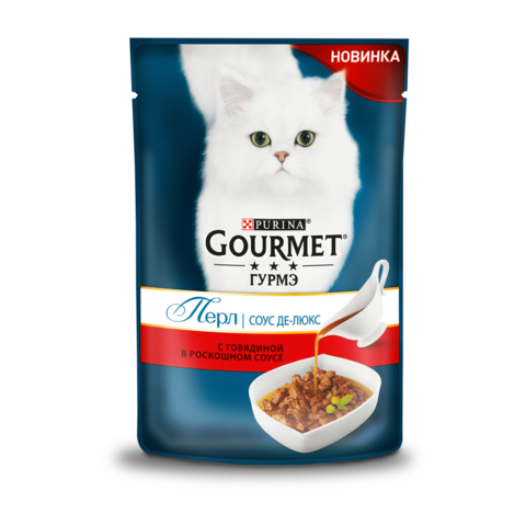 Gourmet Perle Консервы для кошек с Говядиной в роскошном соусе Де-люкс (Пауч)