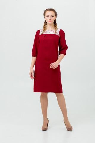 Платье льняное в русском стиле Сладкая брусника