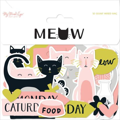 Высечки  - Meow Mixed Bag Cardstock Die-Cuts от My Mind's Eye -50шт.